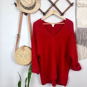 H&M Red Oversized V Neck Sweater